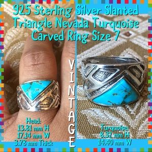 Vintage 925 STER Silver Nevada Turquoise Ring 7